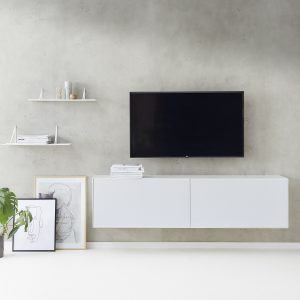 Edge tv bord – hvidlakeret
