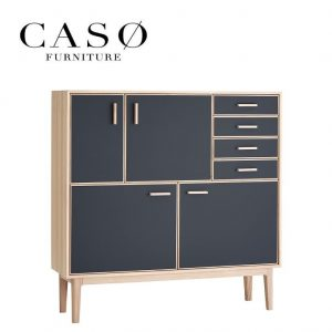 Casø 700 highboard – eg hvidolie/sort nanolaminat